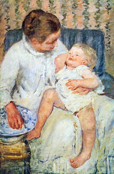 Mary Cassatt Mother washing the tired child