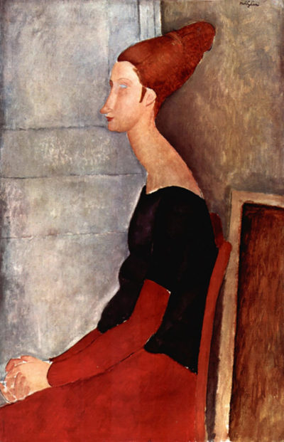 Amedeo Clemente Modigliani Portrait of Jeanne Hebuterne in dark clothes
