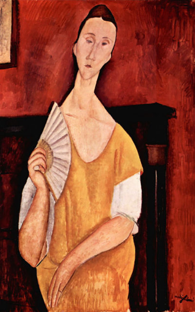 Amedeo Clemente Modigliani Portrait of Lunia Czechowska with fan