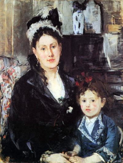 Berthe Morisot Portrait of Mme Boursier and Daughter