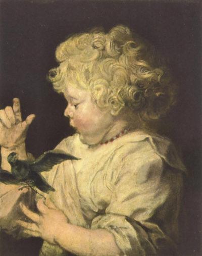 Antoon van Dyck Portrait of a child with bird