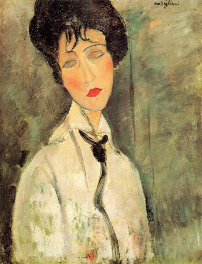 Amedeo Clemente Modigliani Portrait of a woman with a black tie