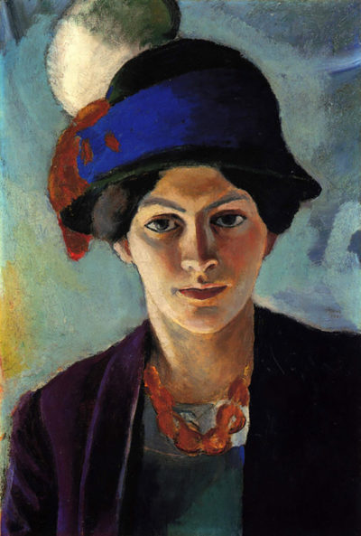 August Macke Portrait of the wife of the artist with a hat