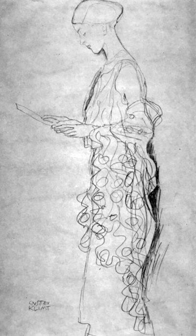 Gustav Klimt Profile of a reading woman
