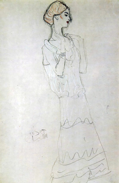 Gustav Klimt Profile standing female figure with raised arms