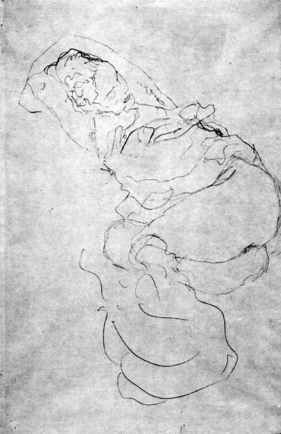 Gustav Klimt Reclining semi-nude (Study for