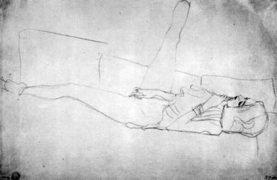Gustav Klimt Reclining semi-nude with upraised right leg