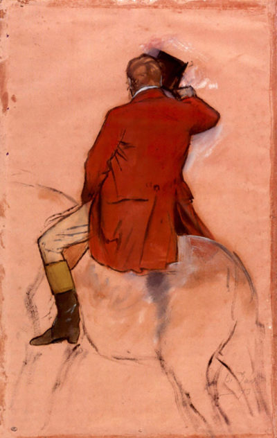 Edgar Degas Rider with red jacket