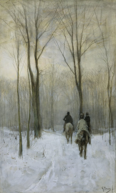 Anton Mauve Riders in the Snow in the Haagse Bos