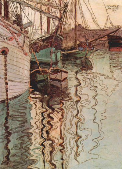 Egon Schiele Sailboats in wellenbewegtem water (The port of Trieste)