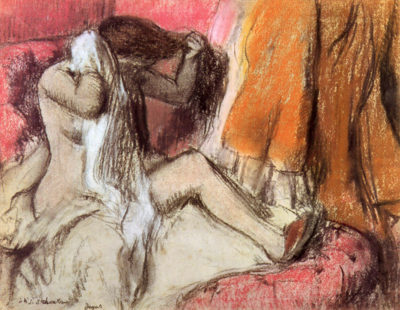 Edgar Degas Seated female nude on a chaise lounge