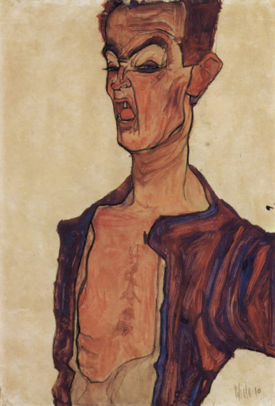 Egon Schiele Self Portrait Screaming