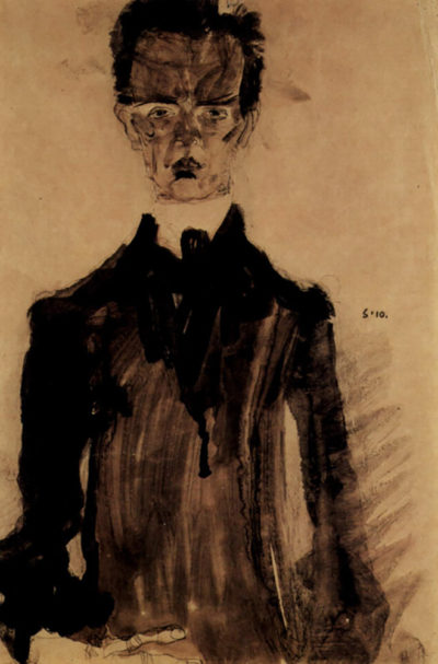 Egon Schiele Self-Portrait in a black robe