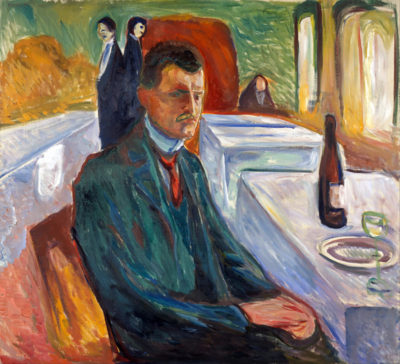 Edvard Munch Self-Portrait with bottle of wine