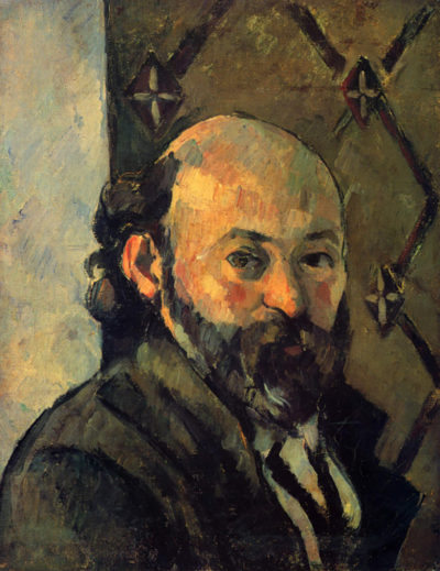 Paul Cézanne Self-portrait in front of wallpaper