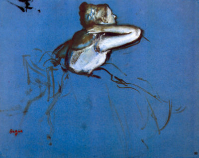 Edgar Degas Sitting dancer in profile with hand on her neck