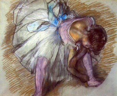 Edgar Degas Sitting dancer lacing her slipper