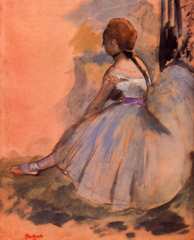 Edgar Degas Sitting dancer with extended left leg