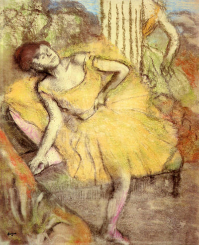 Edgar Degas Sitting dancer with the right leg up