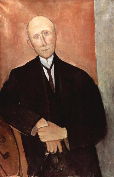Amedeo Clemente Modigliani Sitting man with orange background