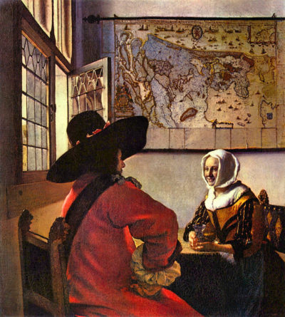 Johannes Vermeer Soldier and girl smiling