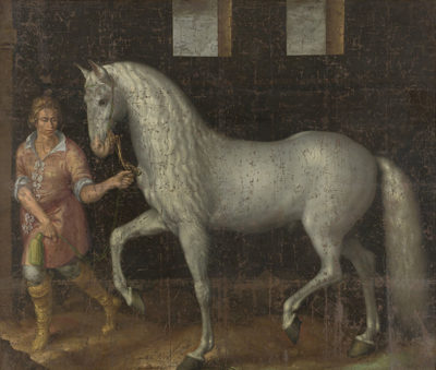 Jacob de Gheyn (II) A Spanish Warhorse Captured by Lodewijk Gunther van Nassau from Archduke Albert of Austria in the Battle of Nieuwpoort and Presented to Prince Maurits