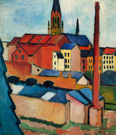 August Macke St. Mary's Church with houses and chimney