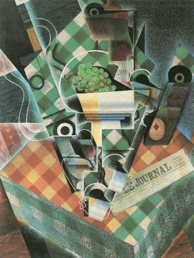 Juan Gris Still Life with checked tablecloth