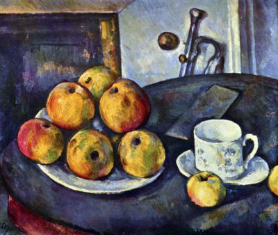 Paul Cézanne Still life with a bottle and apple cart