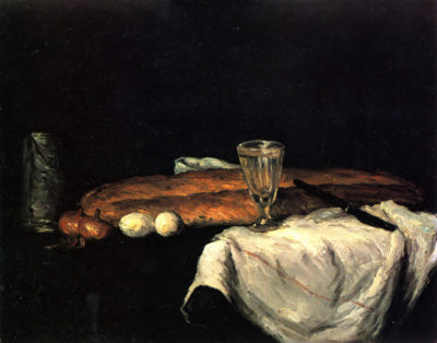 Paul Cézanne Still life with bread and eggs