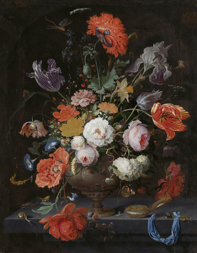 Abraham Mignon Still Life with Flowers and a Watch