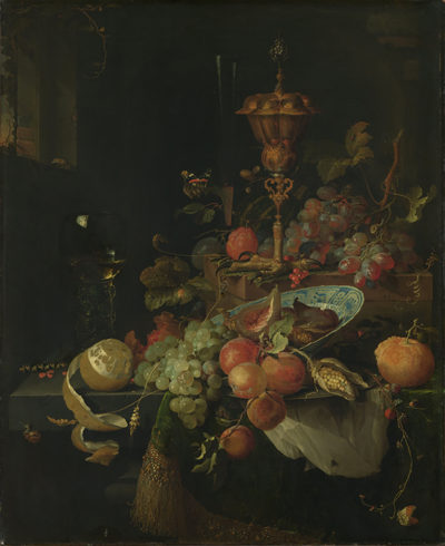 Abraham Mignon Still Life with Fruit and a Beaker on a Cock's Foot