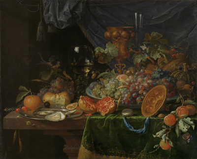 Abraham Mignon Still Life with Fruit and Oysters