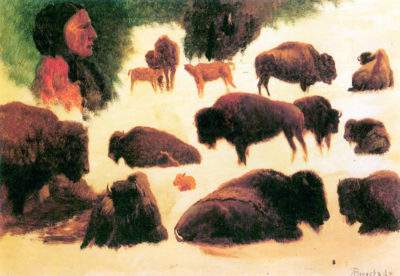 Albert Bierstadt Study of Buffaloes
