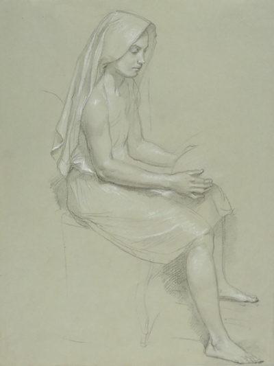 William-Adolphe Bouguereau Study of a Seated Veiled Female Figure 19th Century