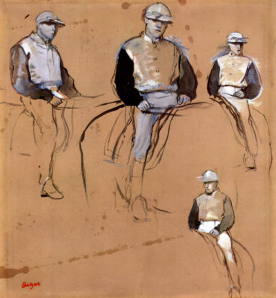 Edgar Degas Study with four jockeys