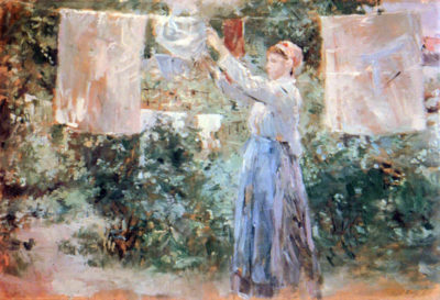 Berthe Morisot The farmer hanging laundry