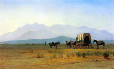 Albert Bierstadt The stagecoach in the Rockies