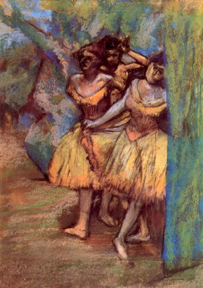 Edgar Degas Three dancers behind the scenes