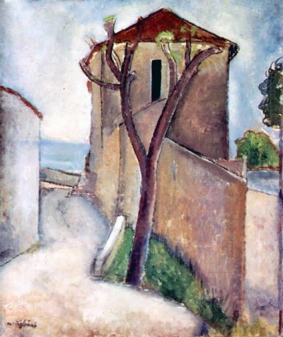 Amedeo Clemente Modigliani Tree and House