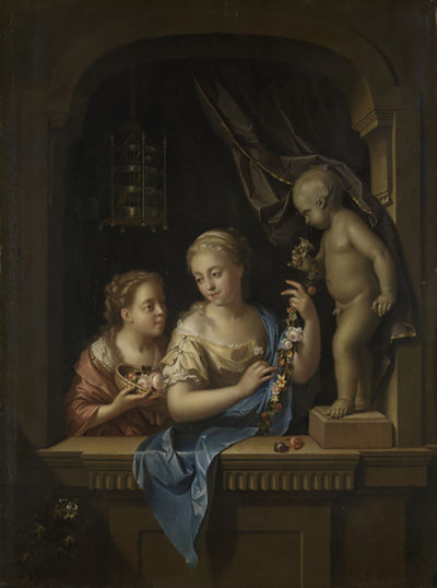 Pieter van der Werff Two Girls with Flowers by a Statue of Cupid