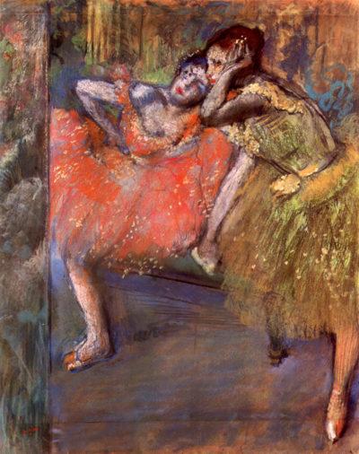 Edgar Degas Two dancers behind the scenes