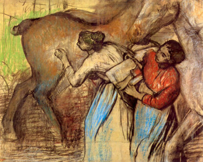 Edgar Degas Two women washing horses