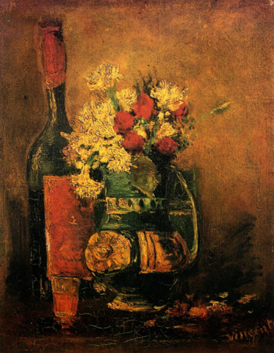 Vincent van Gogh Vase with Carnations and Roses and a Bottle