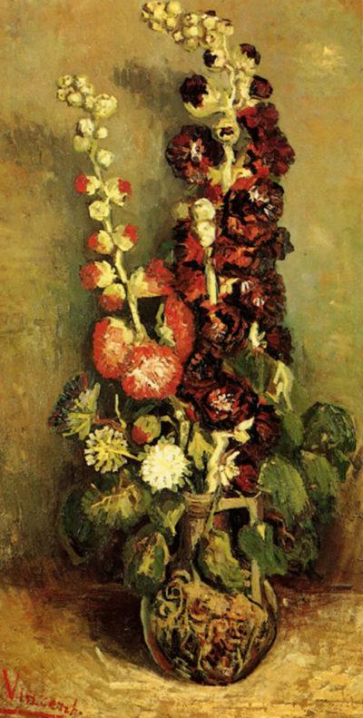 Vincent van Gogh Vase with Hollyhocks