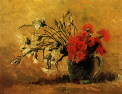 Vincent van Gogh Vase with Red and White Carnations on Yellow Background