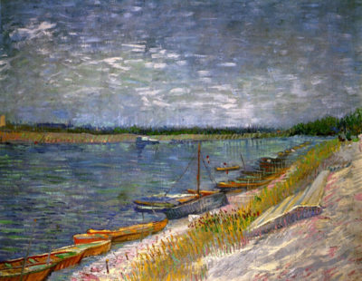 Vincent van Gogh View of a River with Rowing Boats