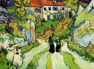 Vincent van Gogh Village Street and Steps in Auvers with Figures