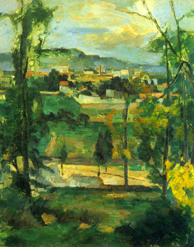 Paul Cézanne Village behind the trees