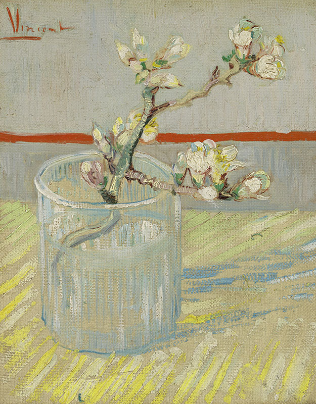 Vincent van Gogh Sprig of Flowering Almond in a Glass